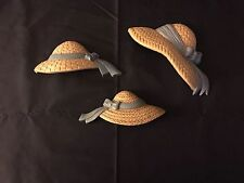 VINTAGE HOMCO/HOME INTERIOR 3 STRAW HATS WITH COUNTRY BLUE RIBBON