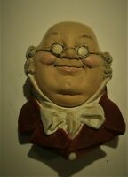 "Vtg Bossons Chalkware Head ""Mr. Pickwick"" Wall Hanging England 1964 - 5""Tall"