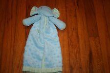 HTF Mud Pie BLUE Elephant Minky Dot Green Stripe Trim Security baby Blanket
