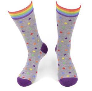 New MENS RAINBOW STARS Novelty Crew Socks SIZE 10-13 Parquet Brand