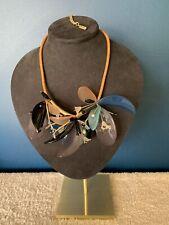 Menbur Blue / Black Floral Plastic Statement Necklace