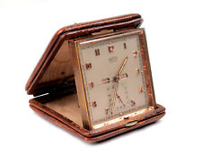 Vintage Angelus 8-Day Foliodate Travel Desk Clock Day Date Month Alarm
