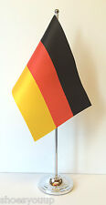 Germany Satin Flag with Chrome Base Table Desk Flag Set