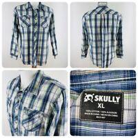 Skully Mens Sz XL Metal Snap Button Long Sleeve Blue Plaid Rockabilly Shirt   S4