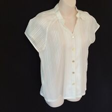 NEW ATMOSPHERE BLOUSE / TOP / SHIRT SHORT SLEEVE FINE COOL SHEER OFF WHITE s 10