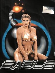 vtg 1998 nwt Mint WWF Diva SABLE Blow me away Black L T-shirt deadstock TAGS WCW