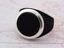 Turkish Ottoman Black Onyx Gemstone Solid 925 Sterling Silver Mens Ring Gemstone