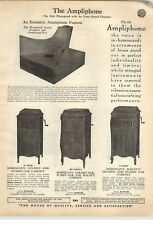 1923 PAPER AD 2 Sided The Ampliphone Hand Power Crank Phonograph Music Machine