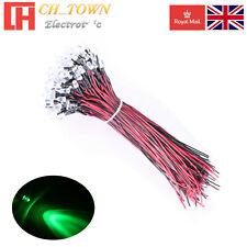 10pcs DC 12V Volt 5mm Green LED Pre Wired Clear Lights Emitting Diodes 20cm UK