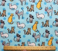 SNUGGLE FLANNEL * VARIETY of CATS on LIGHT BLUE*100% Cotton Fabric NEW BTY