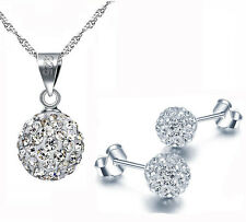 18k White Gold GP AAA CZ Zircon Crystal Ball Bead Necklace Earrings Set S168