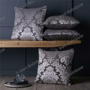 Set of 4 Damask Flocked Velvet 18 inch Piped Cushion Covers Silver & Grey