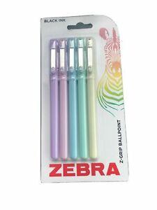 Zebra Z-Grip Smooth Ballpoint Pen - 1.0mm - Black Ink - Pastel Barrel - 5 Pack
