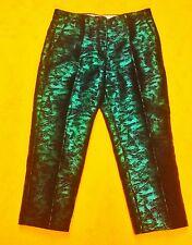 Ladies Gorgeous Turquoise & Black Metallic Ankle Capri Pants Sz 12 NWT