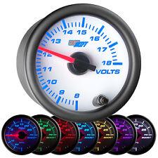 """52mm GlowShift White 7 Color LED Volt Voltage Gauge Meter 2 1/6"""""""