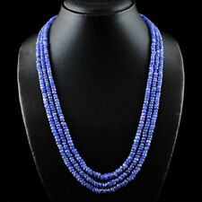 Genuine Tanzanite Faceted Beads necklace with 18 kt (750/1000) gold, length 50cm