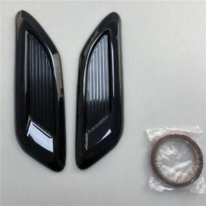 2Pcs Black Car Universal Air Flow Intake Scoop Bonnet Vent Hood Decor Sticker