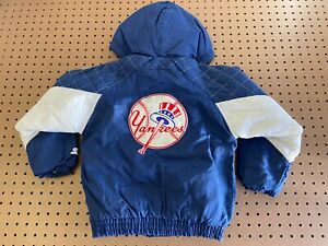 BOYS MEDIUM - Vtg 90s MLB New York Yankees Starter Quilted Hooded Zip Jacket