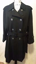 Vintage Women's Christian Dior Black Belted Sz 6 Lined Trench Rain Coat
