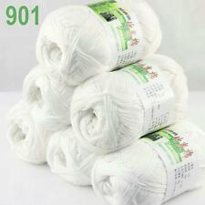 6BallsX50g Super new Worsted Natural Bamboo Cotton Knitting Yarn 901 White