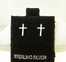 """New  diamond-cut  Sterling Silver .925  CROSS  stud Earrings  7/16"""" long"""