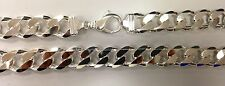 "19MM MEN'S 925 STERLING SILVER SOLID CUBAN LINK CHAIN NECKLACE24""-36""FREE SHPING"