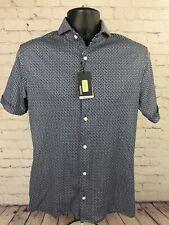 Murano Liquid Luxury Slim Fit Mens M White Blue Geometric Button Shirt [NWT]