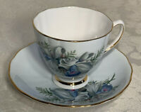 Ridgway Potteries Colclough Blue Floral Bone China Tea Cup & Saucer Gold Trim