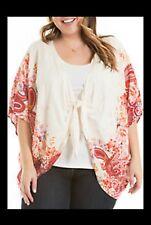 Eyeshadow Clothing Plus Size 2X Tie Front Floral Print Kimono Cardigan Blouse