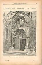 Porte Cathédrale Santa Maria Matricolare de Vérone GRAVURE ANTIQUE PRINT 1900