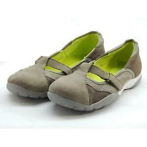 Clarks Collection Women's Taupe/Green Leather Flats 7M (Z39333)