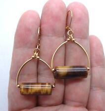 Gold Hoop Earrings A1014 Lovely Brown Tiger Eye