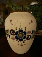 """Mexico Vase Small apx 5"""" flower blue brown tan Collectible Signed Kitsch Decor"""