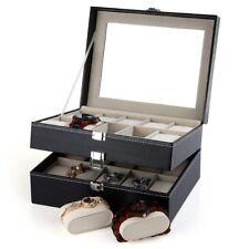 20 Slots Watch Display Case PU Leather Jewelry Storage Box Organizer with Lock