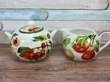 Fruit garden milk cream jug and sugar bowl canister fine china