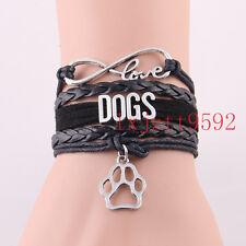 Infinity love DOGS bracelet Animal Pet paw charm bangles gift for Women jewelry