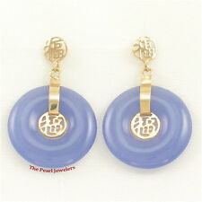 14k Solid Yellow Gold Blessing Dangles; Donut Shaped Lavender Jade Earrings TPJ