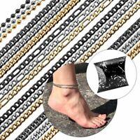 Edelstahl Armband Armreif Fußkettchen Fußkette Silbern Golden Figaro Geschenkbox