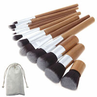 Professional 11pcs Wood Cosmetic Bamboo Make Up Brushes Set