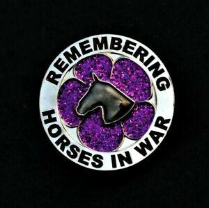 PURPLE POPPY GLITTER  - HORSES - REMEMBRANCE BADGE - SILVER         (P24)