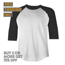 MENS CASUAL RAGLAN TEE PLAIN BASEBALL T SHIRT 3/4 SLEEVE SHIRTS CAMO SOLID EVENT