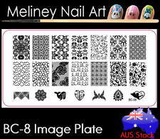 BC-08 Stamping Nail Art Image Plate Design Rectangle XL Stencil metal