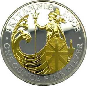 1 OZ Silver 1 Unze Silber Britannia 2008 gilded Lagerräumung