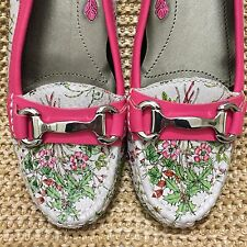Ros Hommerson REGINA Leather Floral Print Loafer Shoes Silver Bit Women's 9.5 SS
