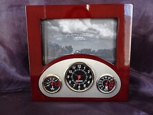 Rosewood Dashboard Clock & Weather with Photo Frame