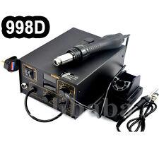 998D 220V SMD Soldering Desoldering Station Welder Hot Air Rework Gun + Nozzles
