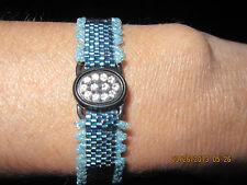 Simple Peyote Bracelet w/ Swarvoski Crystal Clasp/Focal..2 in 1 Look...1419H