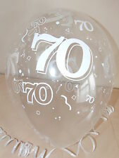 Clear Printed ☆ 70th BIRTHDAY BALLOONS ☆ Party Decorations x 10 Helium Quality