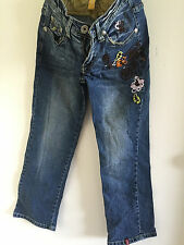 Women Lady Esprit washed Embroidery Cropped Chopped Jeans Pants #25
