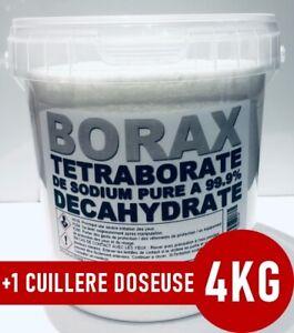 ⭐ 4KG | BORAX DECAHYDRATÉ | TETRABORATE DE SODIUM PURE A 99.9% | +1 Doseuse 25ml
